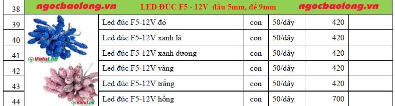 bảng giá led đúc f5 12v