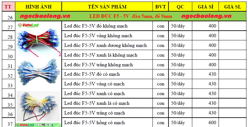 bảng giá led đúc f5 5v