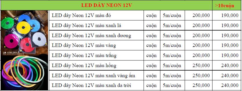 báo giá led dây neon 12v